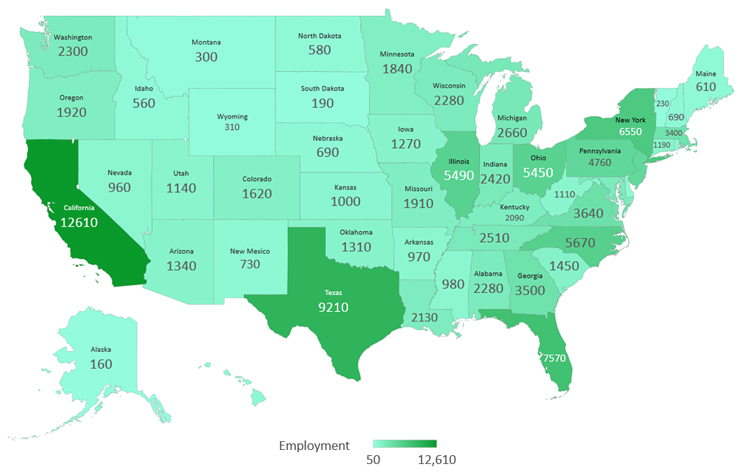 phlebotomist employment map chart